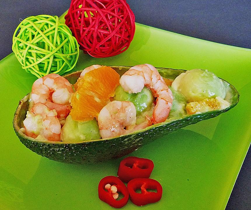 avocado mit garnelen und orangenfilets rezept mit bild. Black Bedroom Furniture Sets. Home Design Ideas