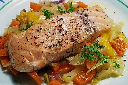 Sanft gegarter Lachs auf Möhren - Orangen - Fenchel - Gemüse 2