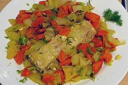 Sanft gegarter Lachs auf Möhren - Orangen - Fenchel - Gemüse 17