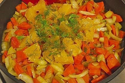 Sanft gegarter Lachs auf Möhren - Orangen - Fenchel - Gemüse 14