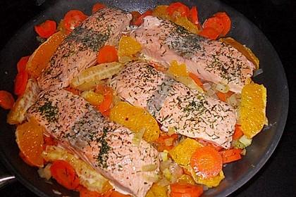 Sanft gegarter Lachs auf Möhren - Orangen - Fenchel - Gemüse 7