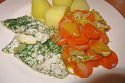 Sanft gegarter Lachs auf Möhren - Orangen - Fenchel - Gemüse 6