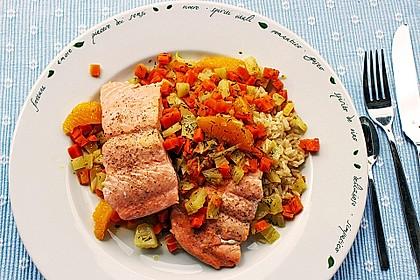 Sanft gegarter Lachs auf Möhren - Orangen - Fenchel - Gemüse 5