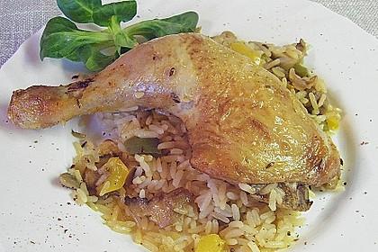 Hähnchenschenkel auf Reis 5