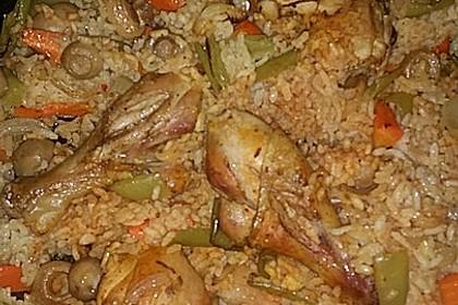 Hähnchenschenkel auf Reis 4