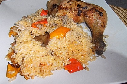 Hähnchenschenkel auf Reis 1