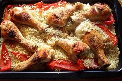 Hähnchenschenkel auf Reis