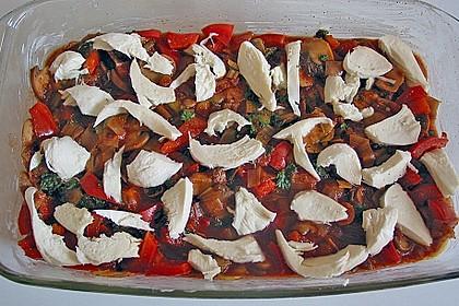 Nudelauflauf mit Paprika und Hähnchen / Pute 5