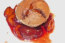 Halbflüssiger warmer Schokoladenkuchen von der Valrohna