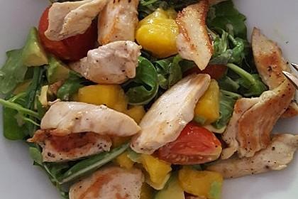 Mango-Avocado-Salat mit Hühnerstreifen, Rucola und Tomaten 29