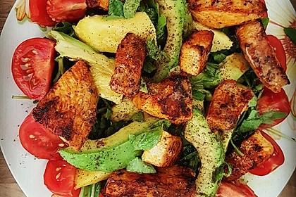 Mango-Avocado-Salat mit Hühnerstreifen, Rucola und Tomaten 6