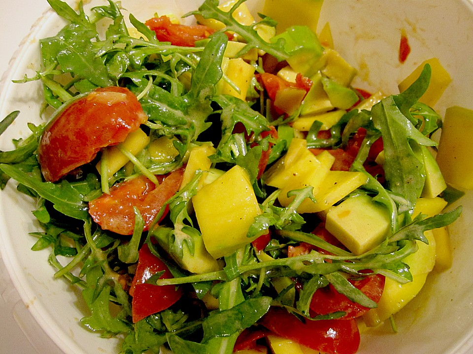 mango avocado salat mit h hnerstreifen rucola und tomaten rezept mit bild. Black Bedroom Furniture Sets. Home Design Ideas