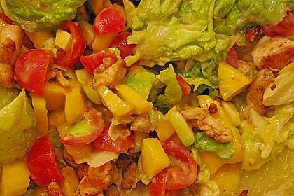 Mango-Avocado-Salat mit Hühnerstreifen, Rucola und Tomaten 49