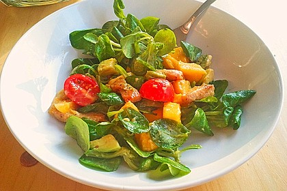 Mango-Avocado-Salat mit Hühnerstreifen, Rucola und Tomaten 17