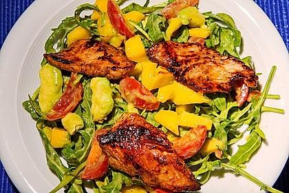 Mango-Avocado-Salat mit Hühnerstreifen, Rucola und Tomaten 7