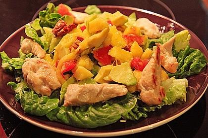 Mango-Avocado-Salat mit Hühnerstreifen, Rucola und Tomaten 10