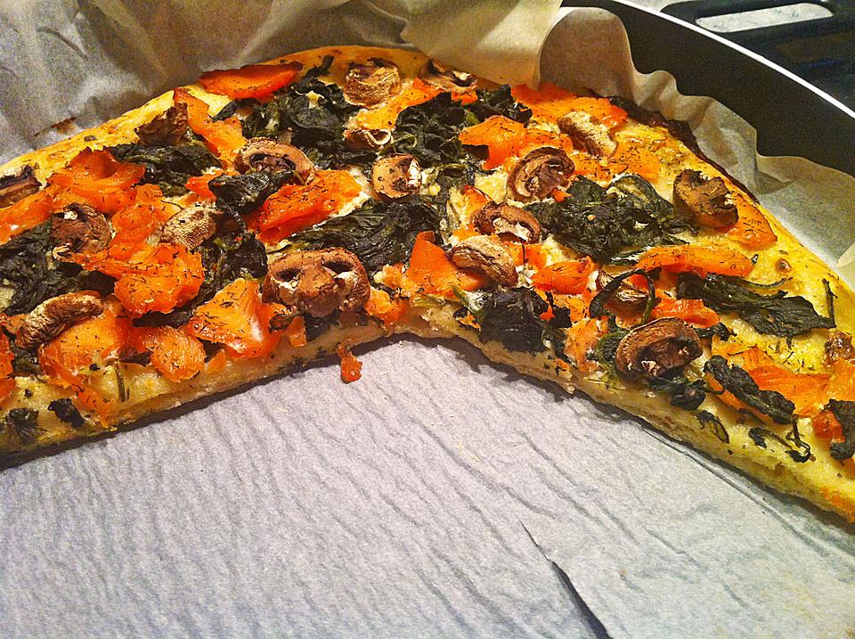 lachs spinat pizza rezept mit bild von captaincookie. Black Bedroom Furniture Sets. Home Design Ideas