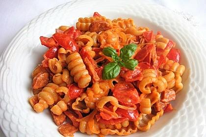 Pasta mit Chorizo - Zwiebel - Sauce 14