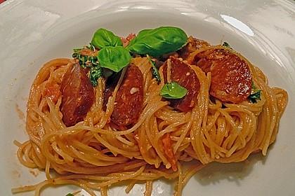Pasta mit Chorizo - Zwiebel - Sauce 9