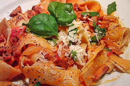 Pasta mit Chorizo - Zwiebel - Sauce 5