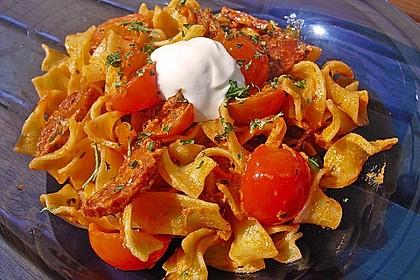 Pasta mit Chorizo - Zwiebel - Sauce 7