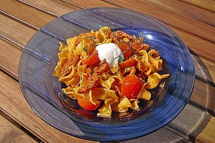 Pasta mit Chorizo - Zwiebel - Sauce 11
