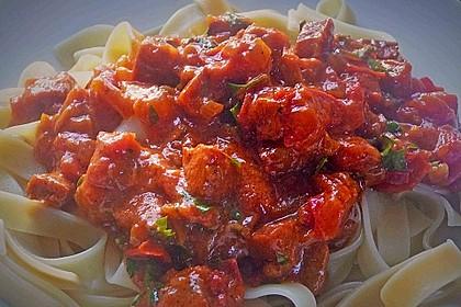 Pasta mit Chorizo - Zwiebel - Sauce 25