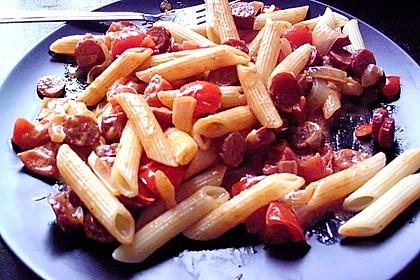 Pasta mit Chorizo - Zwiebel - Sauce 38