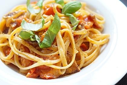 Pasta mit Chorizo - Zwiebel - Sauce 1