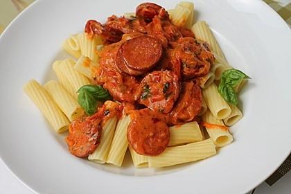 Pasta mit Chorizo - Zwiebel - Sauce 4