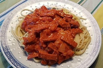 Pasta mit Chorizo - Zwiebel - Sauce 26
