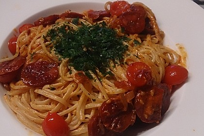 Pasta mit Chorizo - Zwiebel - Sauce 29