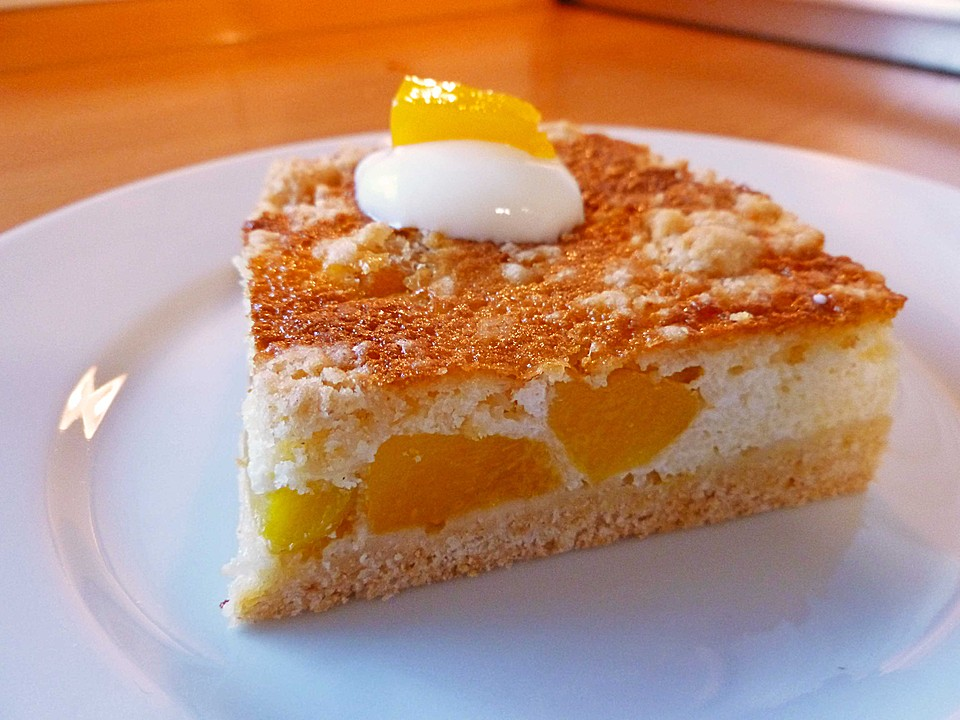 Kuchen mit pfirsich creme