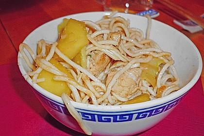 Gebratene Nudeln mit Hühnchen und Mango 1