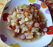 Kohlrabieintopf mit Würstchen