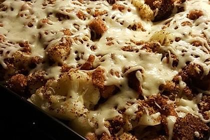 Blumenkohl mit Butterbröseln und Käse überbacken 3