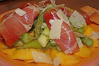 Mangos mit Serranoschinken, Limettenvinaigrette und Spargel 1