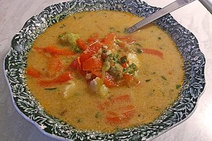Pikante Thai Suppe mit Kokos und Hühnchen 71