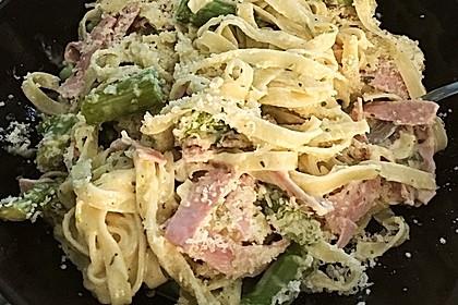 Spargel mit Schinken und Pasta 4