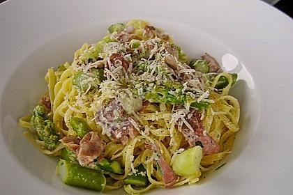 Spargel mit Schinken und Pasta 2