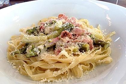 Spargel mit Schinken und Pasta 1