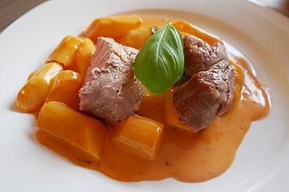 Spargel in rosa Basilikum - Käse - Sauce mit Filet vom Schwein, Huhn oder Pute 7
