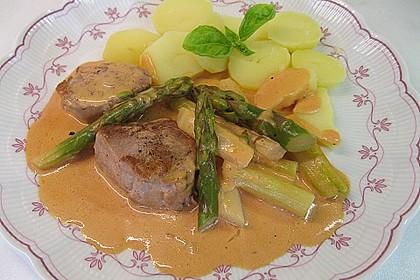 Spargel in rosa Basilikum - Käse - Sauce mit Filet vom Schwein, Huhn oder Pute 9