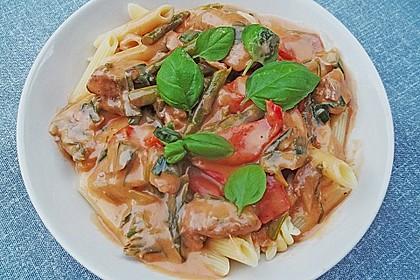 Spargel in rosa Basilikum - Käse - Sauce mit Filet vom Schwein, Huhn oder Pute 13