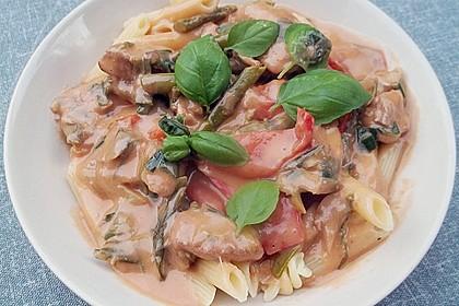 Spargel in rosa Basilikum - Käse - Sauce mit Filet vom Schwein, Huhn oder Pute 14