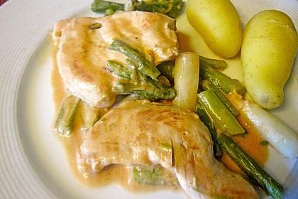 Spargel in rosa Basilikum - Käse - Sauce mit Filet vom Schwein, Huhn oder Pute 20