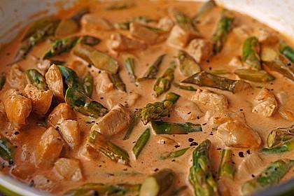 Spargel in rosa Basilikum - Käse - Sauce mit Filet vom Schwein, Huhn oder Pute 5