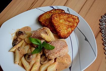 Spargel in rosa Basilikum - Käse - Sauce mit Filet vom Schwein, Huhn oder Pute 27