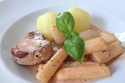Spargel in rosa Basilikum - Käse - Sauce mit Filet vom Schwein, Huhn oder Pute 18