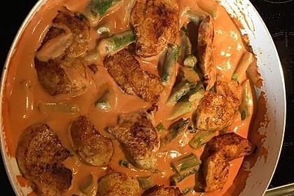 Spargel in rosa Basilikum - Käse - Sauce mit Filet vom Schwein, Huhn oder Pute 31